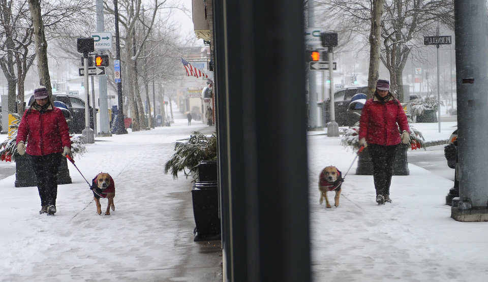 Photo - Danielle Kondratuk of Manchester walks her dog Bella as snow falls in Manchester, Conn., Friday, Feb. 8, 2013.  Snow began falling across the Northeast on Friday, ushering in what was predicted to be a huge, possibly historic blizzard and sending residents scurrying to stock up on food and gas up their cars. The storm could dump 1 to 3 feet of snow from New York City to Boston and beyond.  (AP Photo/Jessica Hill)