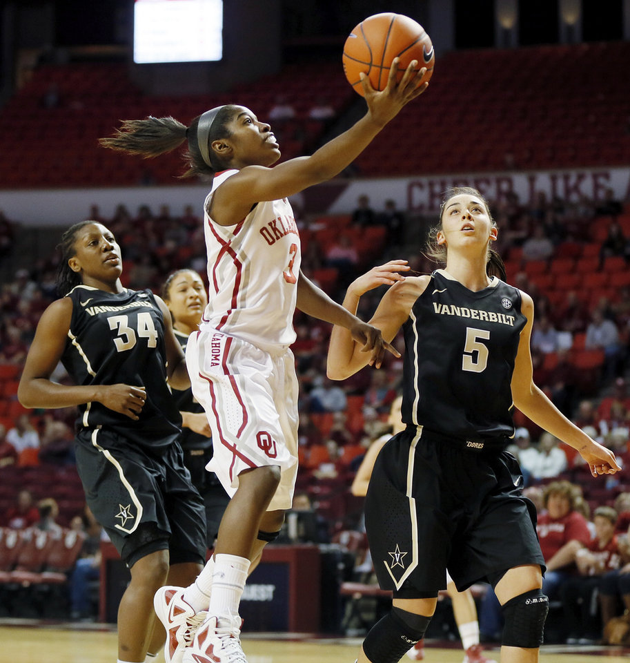 Photo - OU's Aaryn Ellenberg (3) lays up a shot between Vanderbilt's Tiffany Clarke (34) and Kady Schrann (5) in the first half during a women's college basketball game between the University of Oklahoma Sooners and the Vanderbilt Commodores at Lloyd Noble Center in Norman, Okla., Sunday, Dec. 16, 2012. Photo by Nate Billings, The Oklahoman