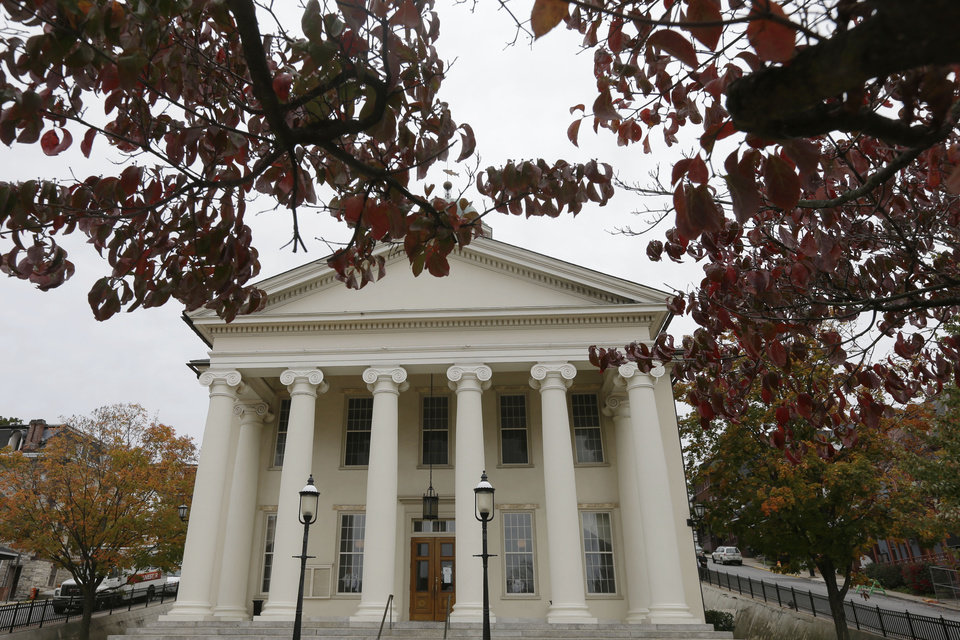 Photo -   The Centre County Courthouse is seen on Monday, Oct. 8, 2012, in Bellefonte, Pa. Former Penn State University assistant football coach Jerry Sandusky is scheduled to be sentenced Tuesday for sexually abusing 10 boys in a scandal that rocked the university and brought down coach Joe Paterno. (AP Photo/Matt Rourke)