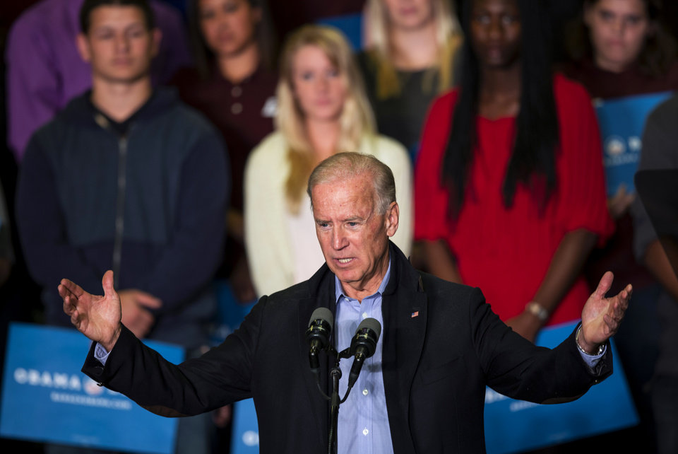 Vice President Joe Biden speaks at the University of Wisconsin La Crosse in La Crosse, Wis., Friday, Oct. 12, 2012. (AP Photo/Tom Lynn)