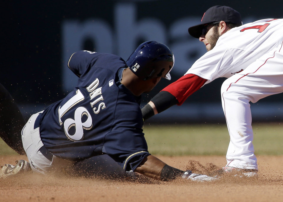 Photo - Milwaukee Brewers' Khris Davis (18) slides safe at second base on a double hit as Boston Red Sox's Dustin Pedroia tries to tag him out in the seventh inning of a baseball game Sunday, April 6, 2014, in Boston. (AP Photo/Steven Senne)