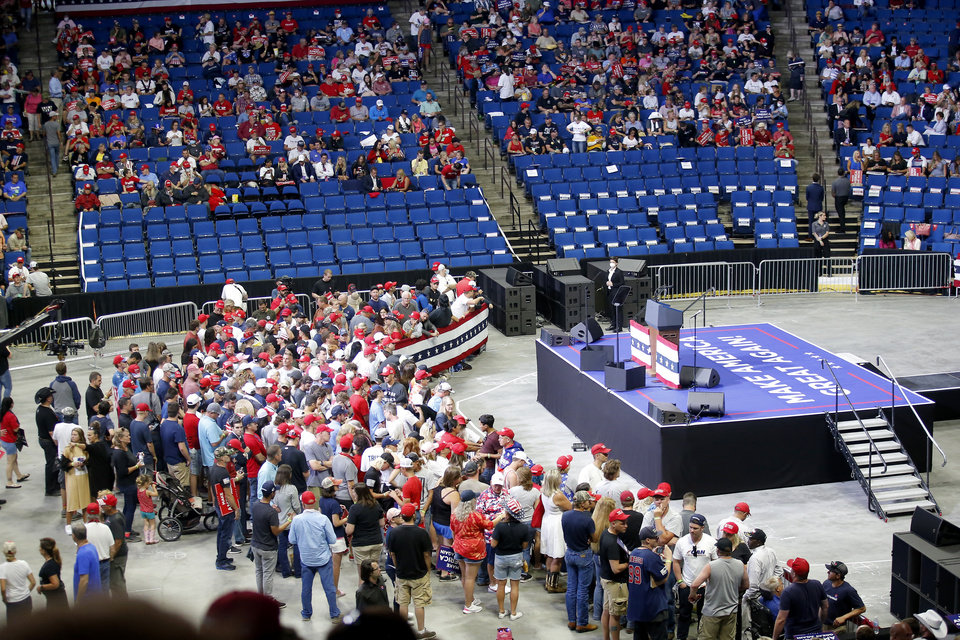 Photo - Supporters fill in the arena floor before the President Donald Trump rally at the BOK Center in Tulsa, Okla., Saturday, June 20, 2020. [Sarah Phipps/The Oklahoman]