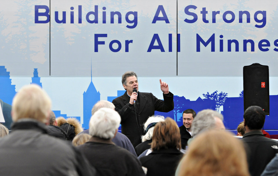 DFL Congressional candidate Jim Graves speaks during a rally Saturday, Nov. 3, 2012, in the parking lot of the River's Edge Convention Center in St. Cloud, Minn. (AP Photo/The St. Cloud Times, Dave Schwarz) NO SALES