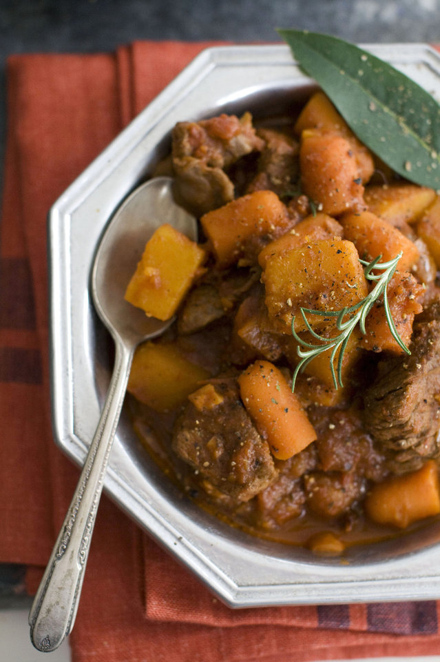 In this image taken on September 10, 2012, Speedy Beef and Butternut Stew is shown in Concord, N.H. (AP Photo/Matthew Mead) ORG XMIT: NYLS617