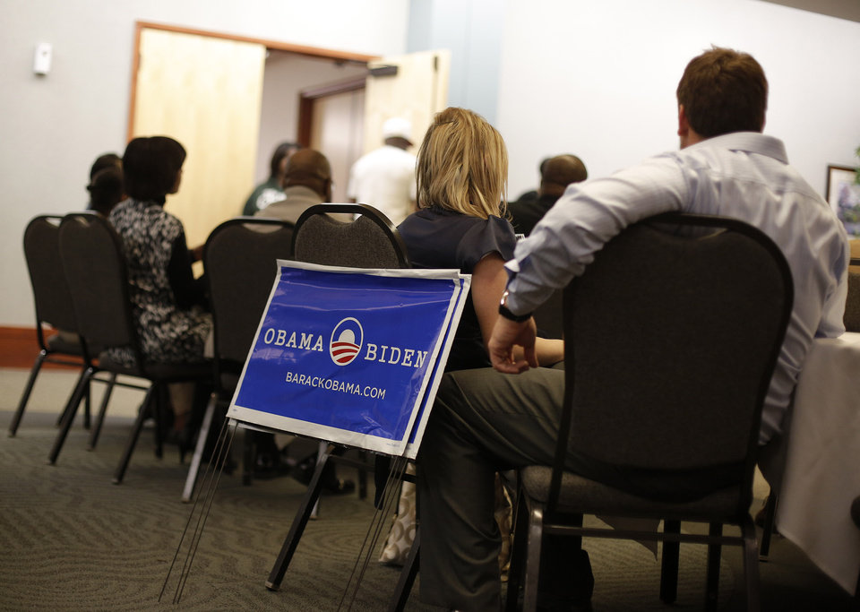Democratic supporters watch election coverage during the Oklahoma Democratic Party watch gathering at the Reed Center in Midwest City, Tuesday, Nov. 6, 2012.  Photo by Garett Fisbeck, The Oklahoman