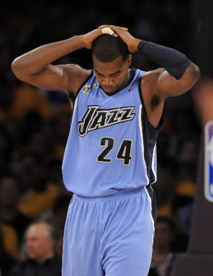 Utah Jazz forward  Paul  Millsap reacts after being called for a foul during the second half of Game 1 of an NBA basketball first-round playoff series against the Los Angeles Lakers, Sunday, April 19, 2009, in Los Angeles. The Lakers won 113-100. (AP Photo/Mark J. Terrill)