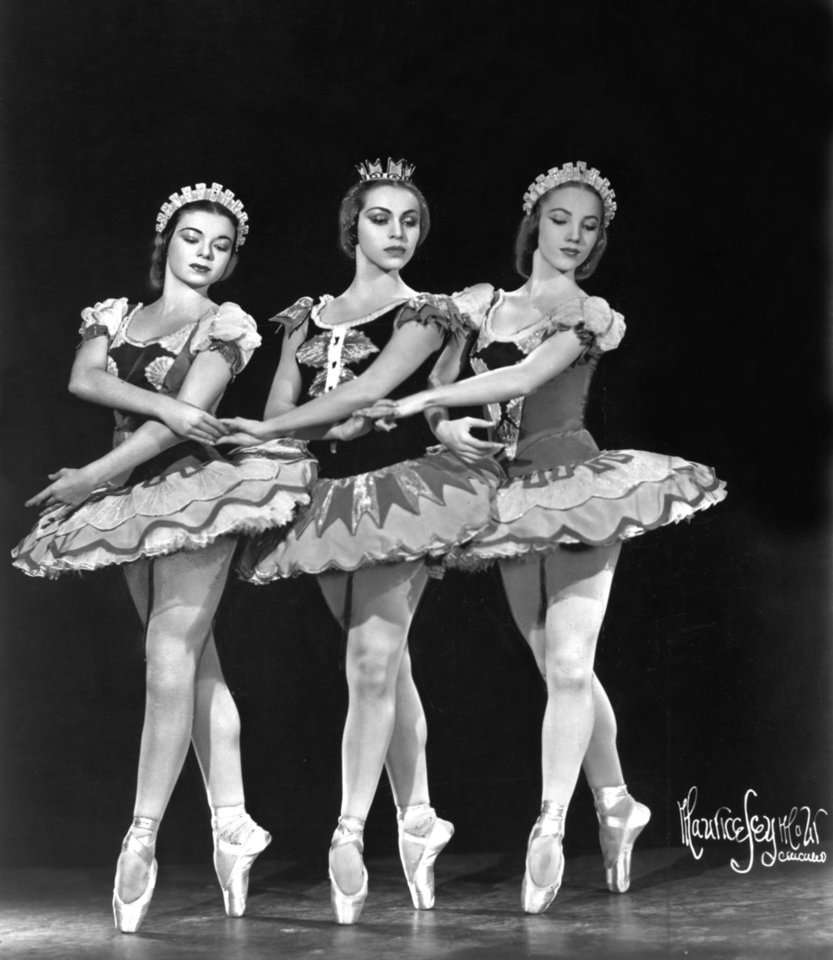 "BALLERINA: ""Two of these three lovely ballerinas who will dance with the Ballet Russe de Monte Carlo December 14 in Municipal Auditorium, are from Oklahoma.  Center is Maria Tallchief, lovely Oklahoman who is half-Indian, half-Irish, and right is Yvonne Chouteau, her fellow Oklahoman in the company.  At left is Pauline Goddard."" Official Ballet Russe de Monte Carlo photo dated 11/30/46, photo ran in the  12/1/46 Daily Oklahoman."