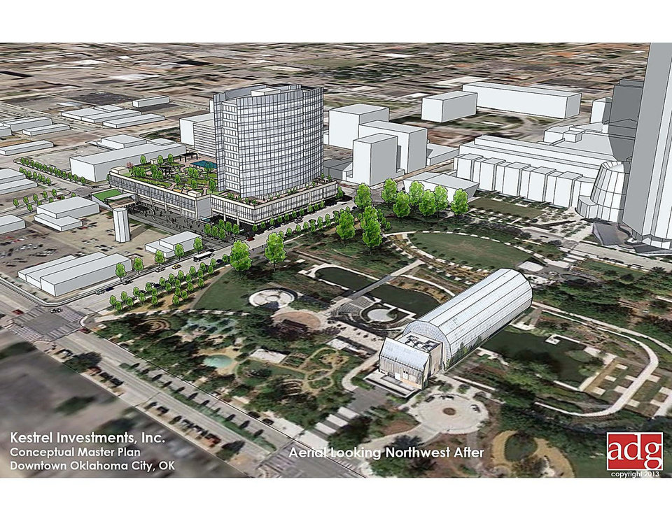 Photo - Approval of demolition of Stage Center on Thursday clears the way for construction of a new OGE Energy Corp. headquarters as shown in this conceptual site plan rendering.  ADG