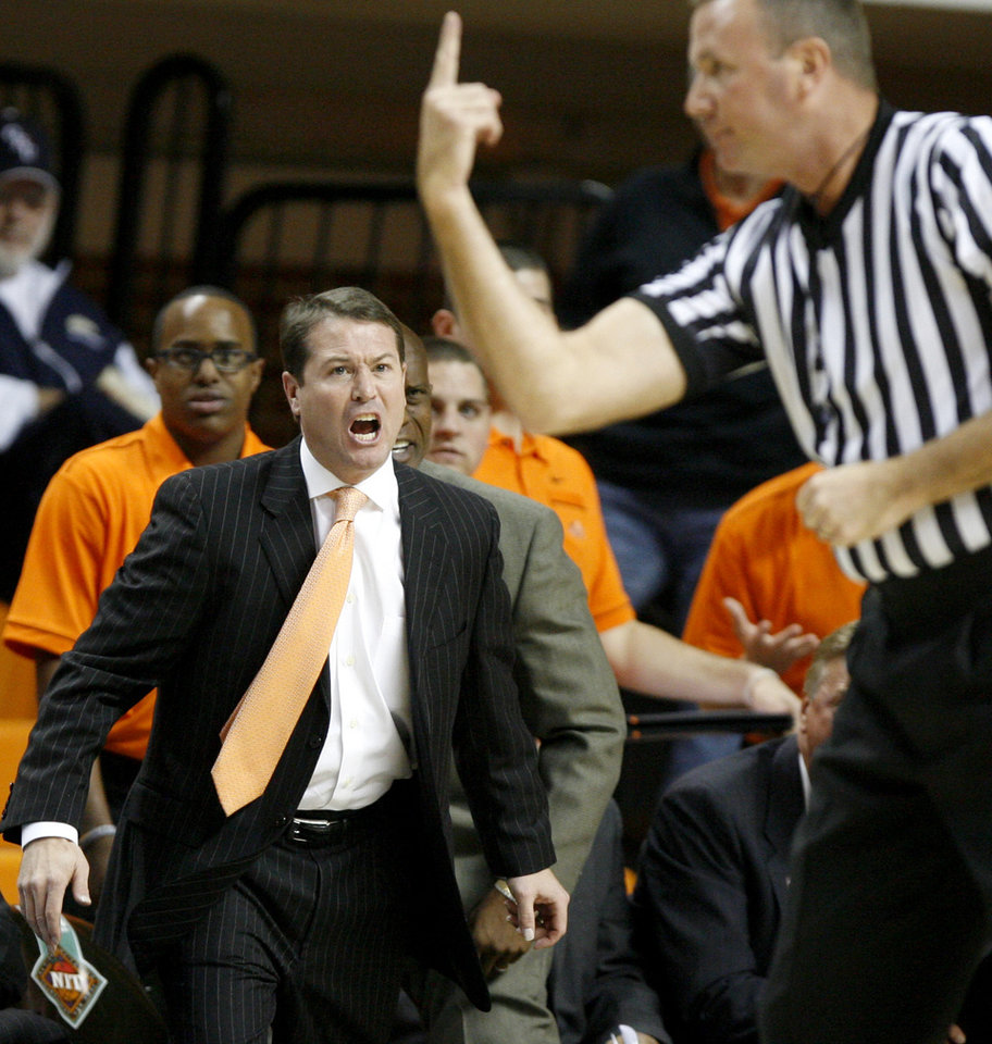 Oklahoma State coach Travis Ford reacts during an NCAA college basketball game between the Oklahoma State University Cowboys (OSU) and the University of Texas-San Antonio Roadrunners at Gallagher-Iba Arena in Stillwater, Okla., Wednesday, Nov. 16, 2011. Photo by Bryan Terry, The Oklahoman