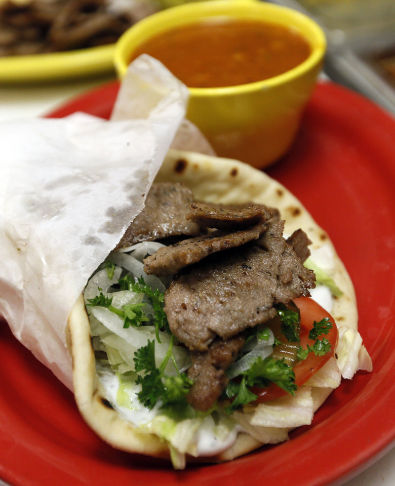 A gyro sandwich at Simply Falafel, 343 S. Blackwelder, in Edmond. Photo by Nate Billings, The Oklahoman NATE BILLINGS - NATE BILLINGS