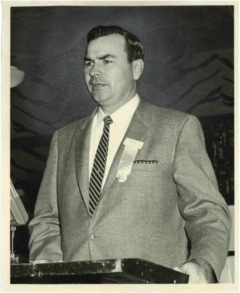 Photo -  George W. Stone addresses participants at the Oklahoma Farmers Union state convention in 1959. [PROVIDED BY AMERICAN FARMERS & RANCHERS/OKLAHOMA FARMERS UNION]