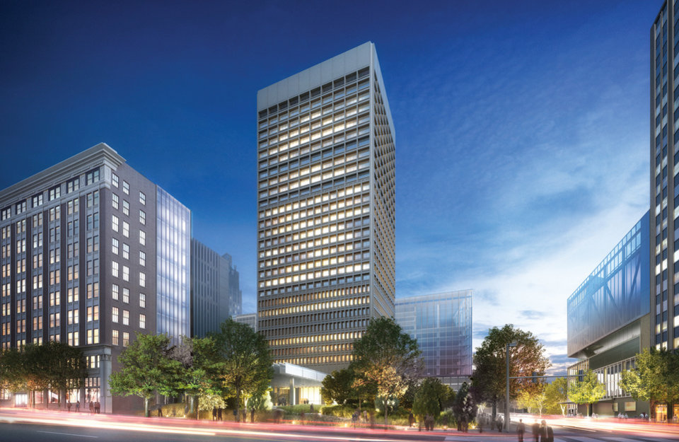 RENDERING: An artist¬aas drawing of SandRidge Energy Inc.¬aas new headquarters being developed in downtown Oklahoma City. DRAWING PROVIDED     ORG XMIT: 1111071657326296