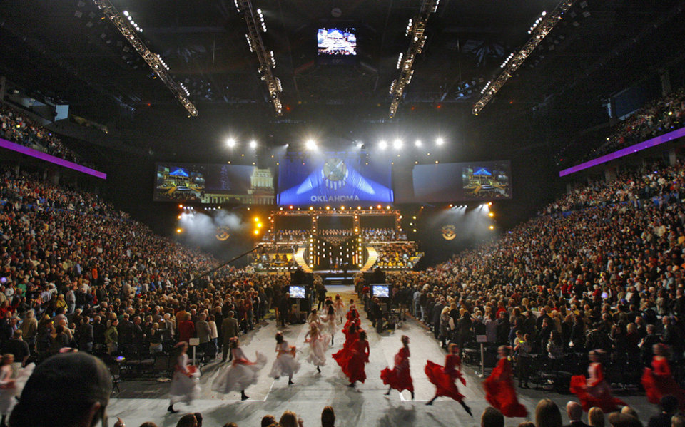 Photo - Performers run to their marks during the Centennial Spectacular to celebrate the 100th birthday of the State of Oklahoma at the Ford Center on Friday, Nov. 16, 2007, in Oklahoma City, Okla. Photo By CHRIS LANDSBERGER, The Oklahoman