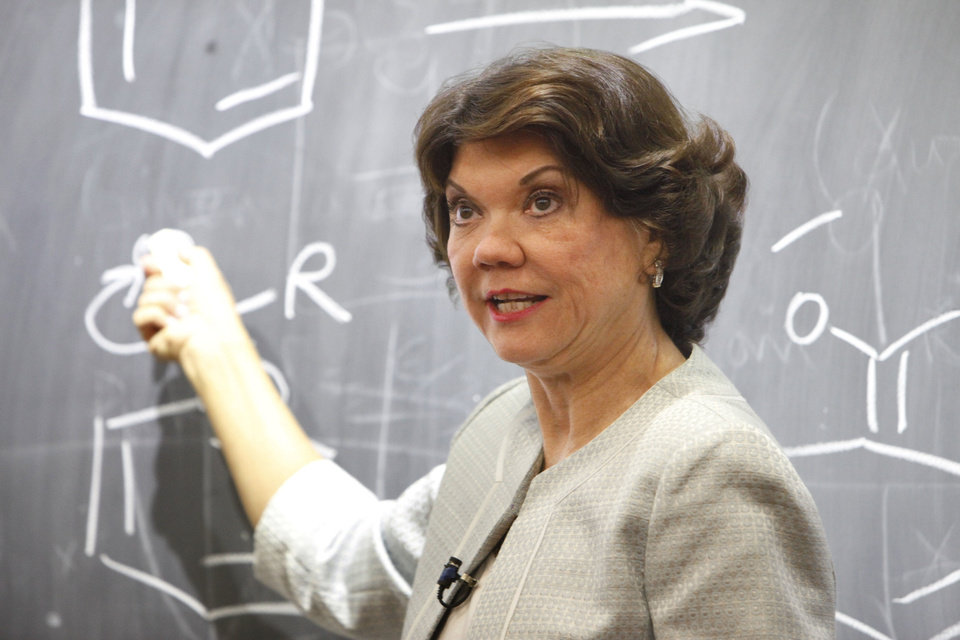 "OU Chemestry professor Donna Nelson teaches an organic chemistry course at the University of Oklahoma. Professor Nelson was a science advisor for ""Breaking Bad."" <strong>PAUL HELLSTERN - Oklahoman</strong>"