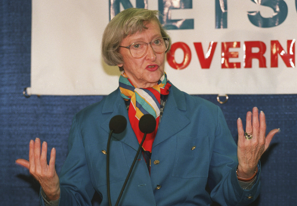 Photo - FILE - In the Aug. 9, 1993 file photo, Dawn Clark Netsch announces her run for Illinois governor in 1994, in  in Chicago. Netsch's former chief of staff and longtime friend Wendy Cohen said Tuesday, March 5, 2013, that Netsch had died early Tuesday. She was 86. She was the first woman to run on a major ticket for governor in Illinois. She was also a former Illinois comptroller and served 18 years in the state senate. (AP Photo/Charles Bennett, File)