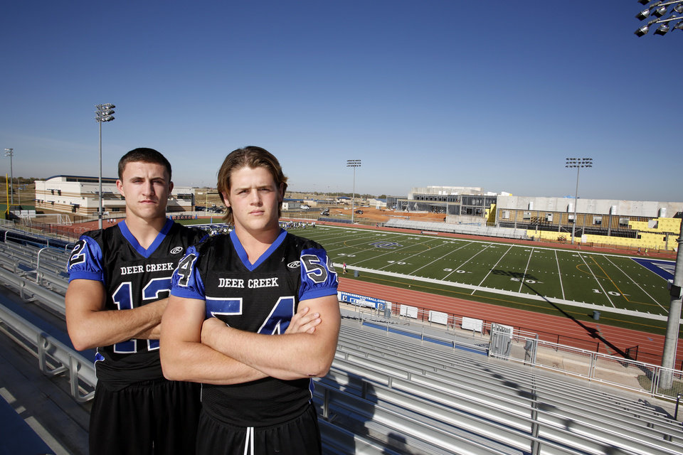 Deer Creek\'s Joel Blumenthal, left, and Austin Loomis pose for photos at Deer Creek High School stadium in Oklahoma City, Wednesday November 01, 2012. Photo By Steve Gooch, The Oklahoman