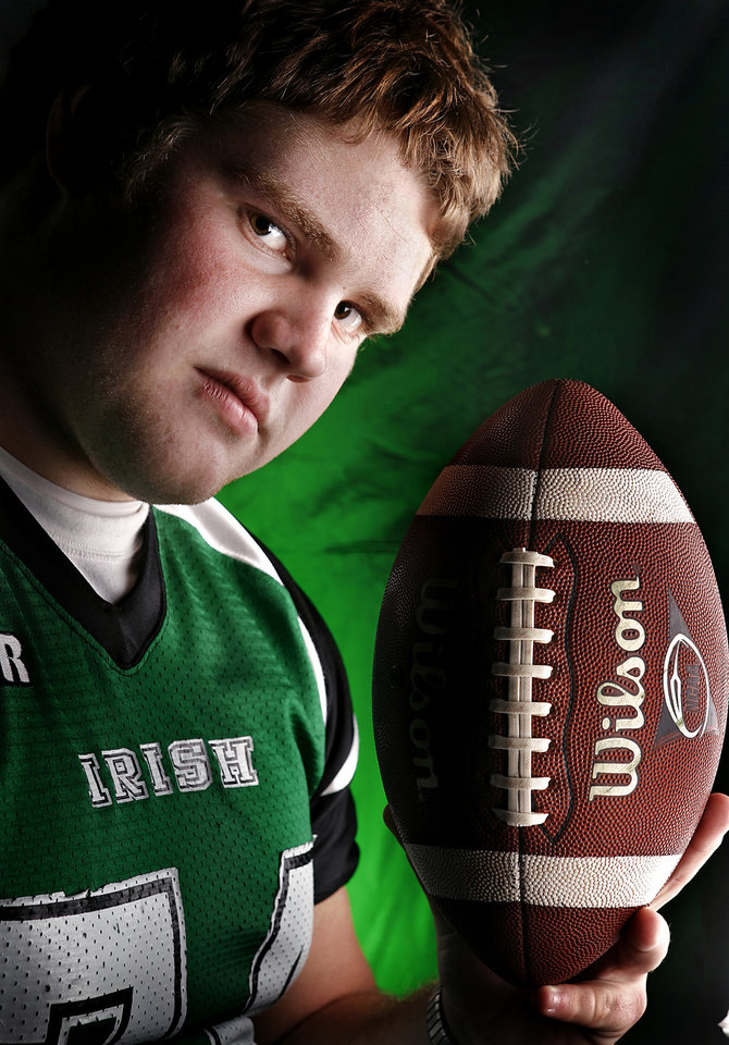 MuGuinness High School's Gabe Moyer All Little City Offensive Lineman.