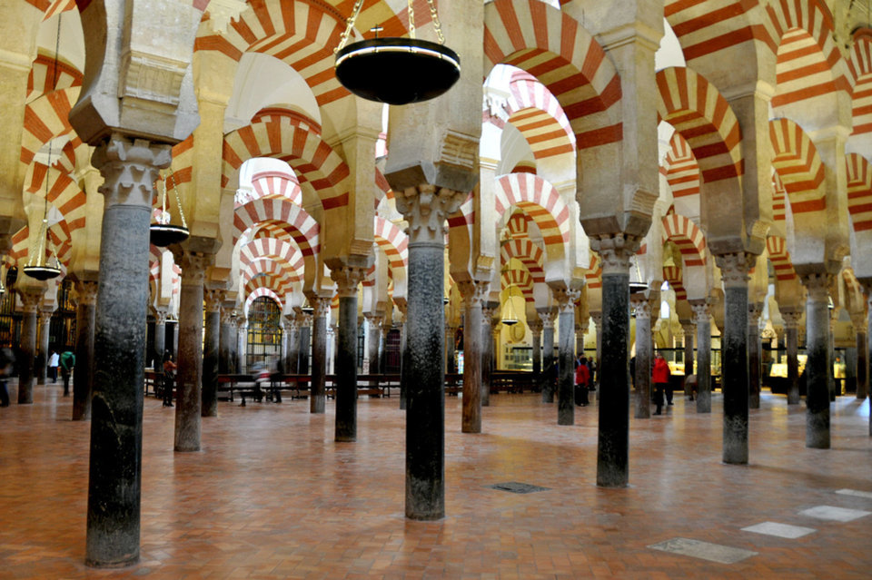 Although Cordoba�s Mezquita is a vast space, its low ceilings and dense columns create an intimate place of worship.  Photos provided by Cameron Hewitt