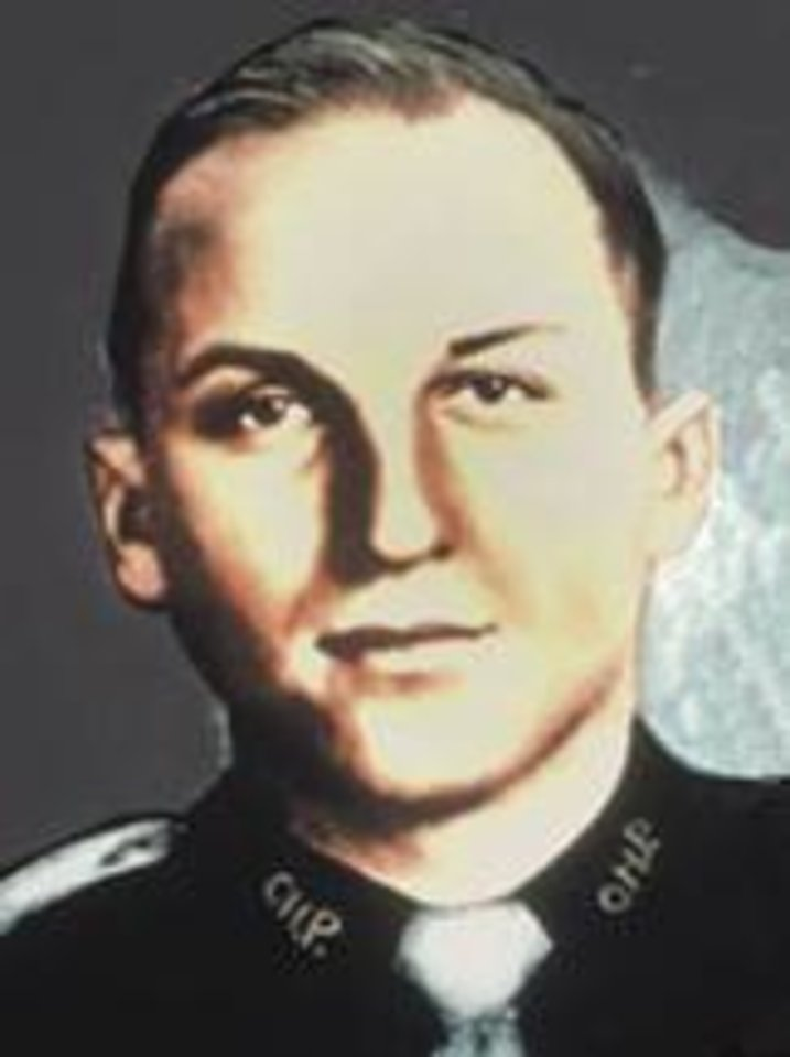 OKLAHOMA HIGHWAY PATROL / MUG: Trooper John Barter  Barter joined the OHP in 1953.  Trooper Barter was on patrol on Highway 62 near Altus when he turned onto a county road to investigate a disturbance. He found a parolee and a woman. It was later determined that the pair had shot at the man's wife and had just tried to kill a black porter. When Barter directed the man to surrender his weapon, the parolee shot the trooper in the chest. A motorist reported the crime and the two were arrested at an OHP roadblock near Randlett three hours later. The man was executed for the crime in 1960 and the woman was sentenced to prison and paroled in 1975.