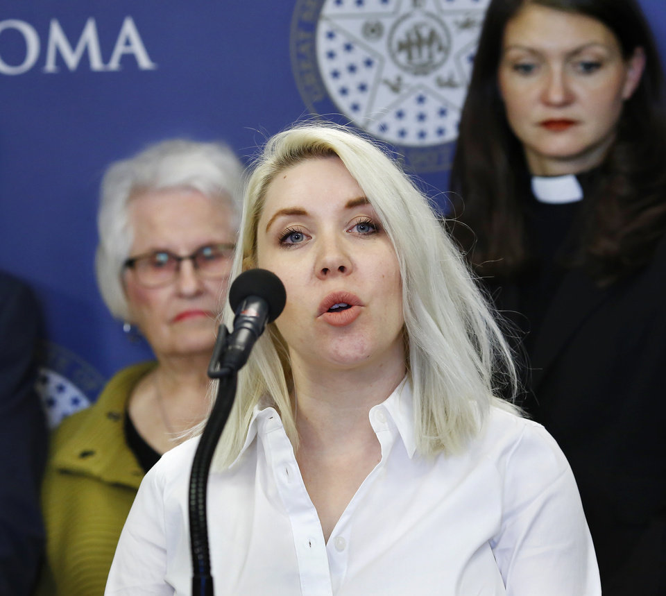 Photo -  Lani Habrock, government affairs director of the Council on American-Islamic Relations-Oklahoma chapter, speaks at a news conference on Wednesday at the state Capitol. [Photo by Jim Beckel, The Oklahoman]