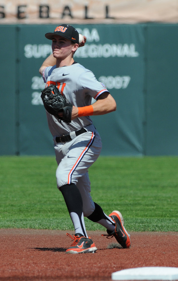 Photo - Oregon State's Trever Morrison throws a UNLV runner out at first base during an NCAA college baseball regional tournament game in Corvallis, Ore., Sunday, June 1, 2014. (AP Photo/Mark Ylen)