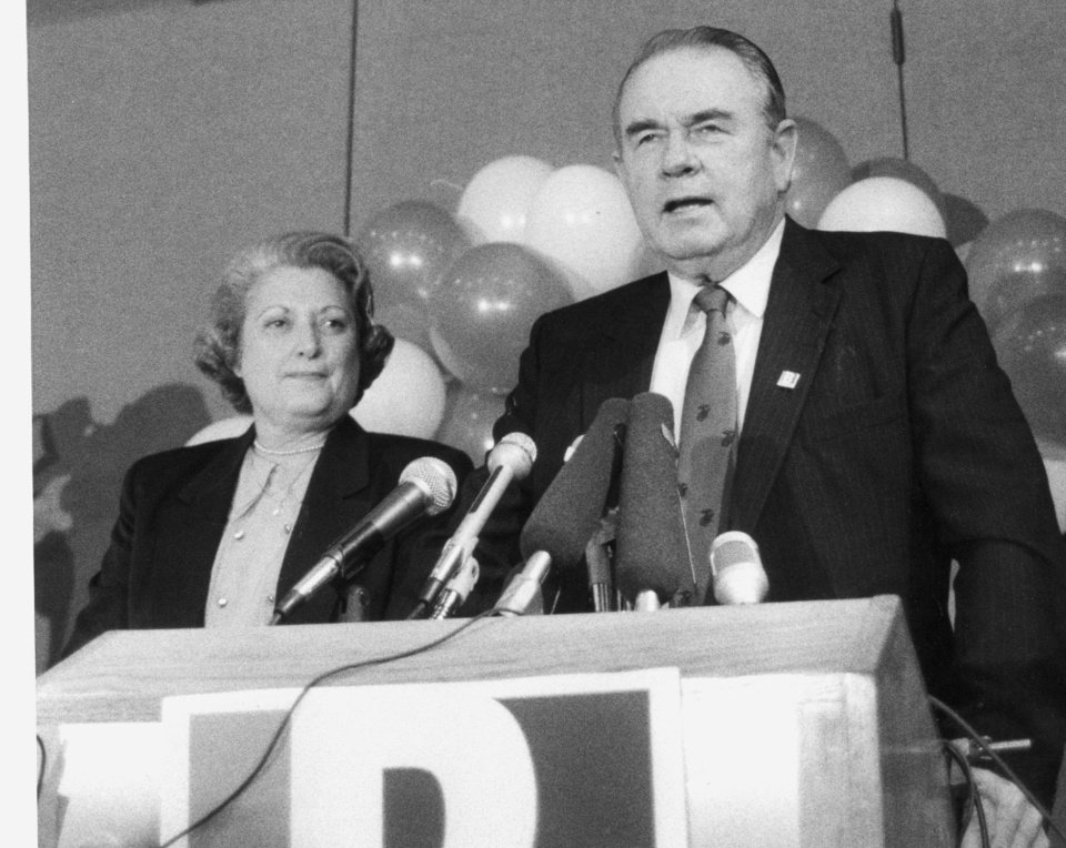 Governor Elect Henry Bellmon at his victory party with wife Shirley. 11/4/1986