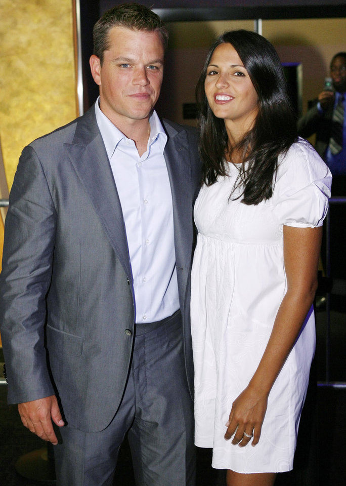 "Actor Matt Damon and his wife, Lucy Damon, pose for a photograph before the Oklahoma City premiere of ""The Bourne Ultimatum""  at the Harkins Bricktown Theaters in Oklahoma City, Tuesday, July 31, 2007. Damon and producer Frank Marshall brought the film to benefit The Children's Center. By Nate Billings, The Oklahoman"