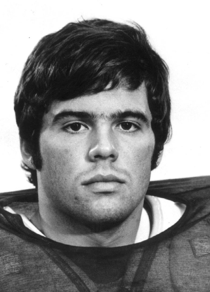 OU FOOTBALL Steve Davis 8-9-73;  Portrait of University of Oklahoma quarterback Steve Davis, 1973-1975.  Photo probably provided by OU Sports Information office; photo ran in the 8/9/73 Daily Oklahoman and 8/20/73 Oklahoma City Times.
