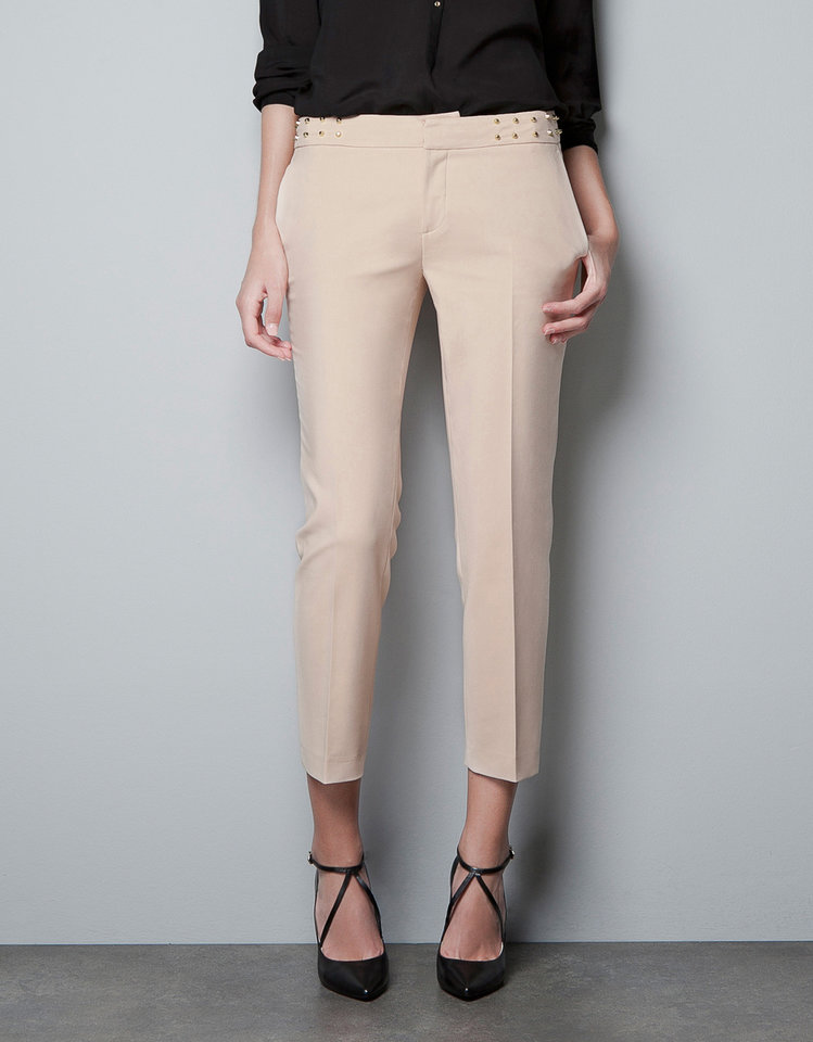To get actress Keri Russell's look, try the trousers with studded waistband from Zara.com for $79.90. (Courtesy Zara.com via Los Angeles Times/MCT)