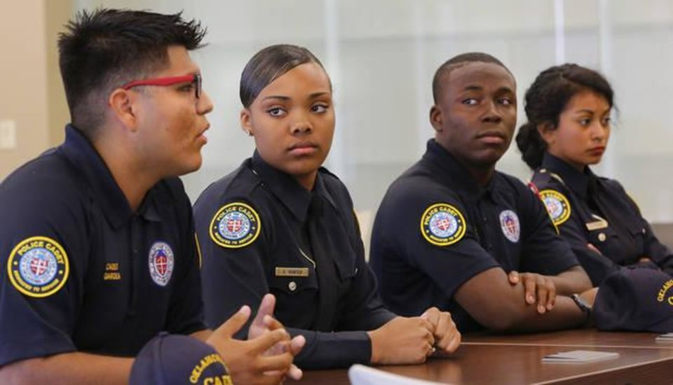 Photo -  From left, Cadets Jairo Gardea, D'Angella Hunter, Jimmy Reece and Zara Triana at the Oklahoma City Police Department on Wednesday, June 22, 2016. [Photo by Jim Beckel, The Oklahoman]