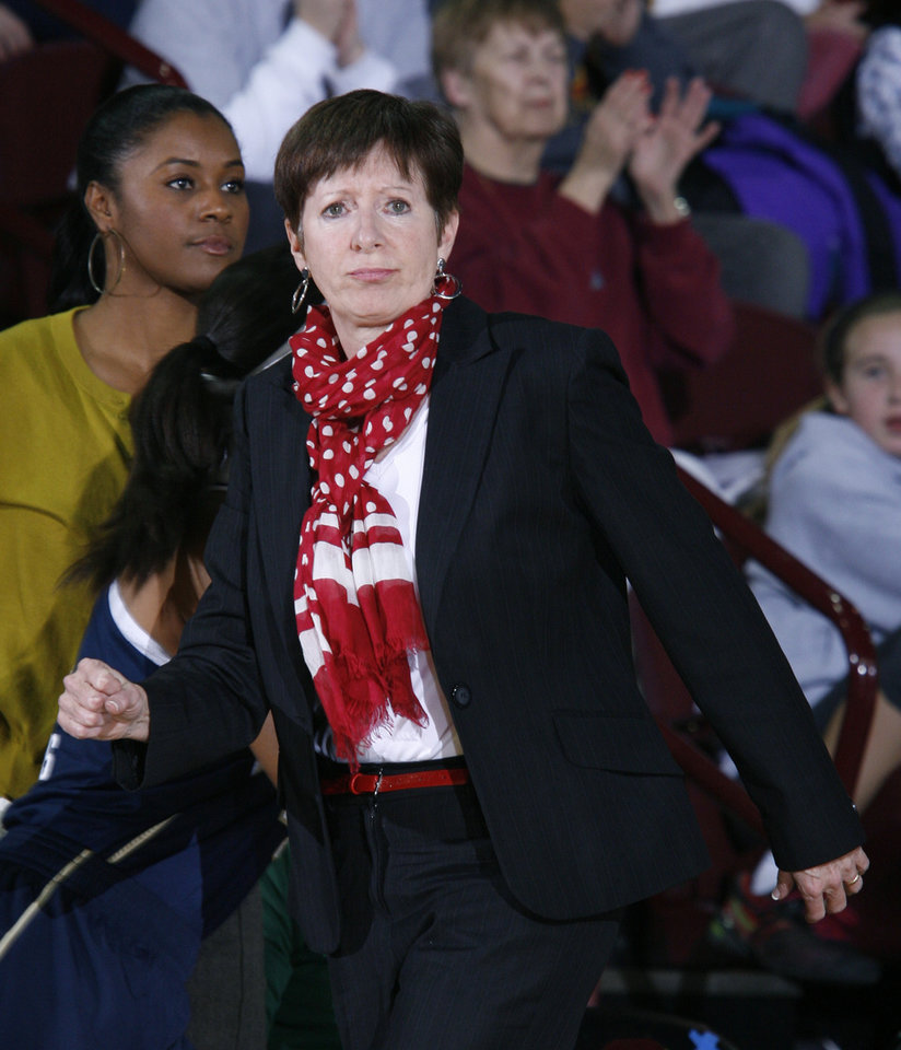 Notre Dame coach Muffet McGraw watches the action against Central Michigan during the second half of an NCAA college basketball game on Thursday, Nov. 29, 2012, in Mount Pleasant, Mich. Notre Dame won 72-63. (AP Photo/Al Goldis)