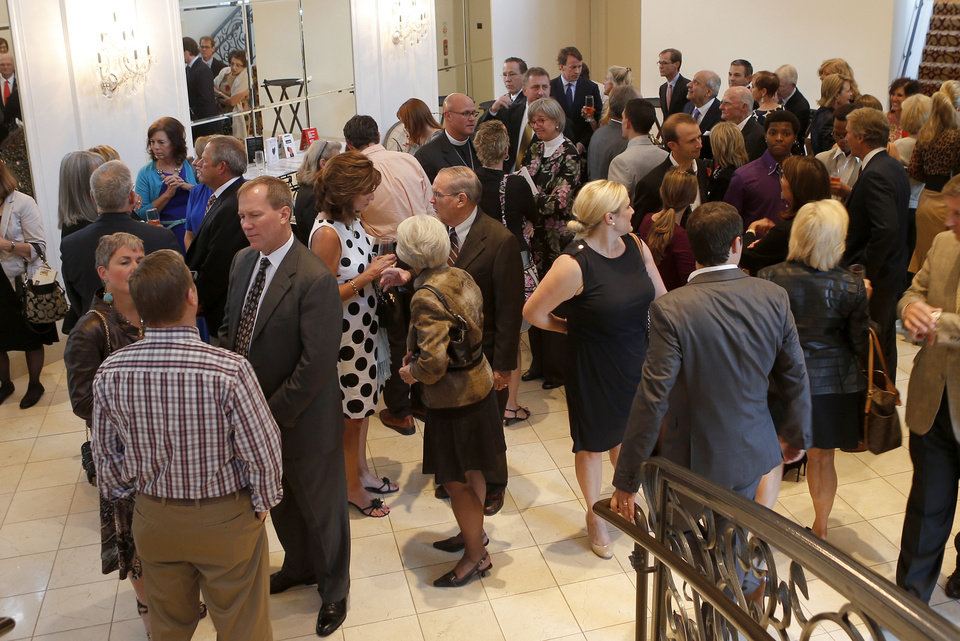 "A crowd fills the entrance to the Skirvin Grand Ballroom during a reception for ""An Evening of Courage and Inspiration"" hosted by Teen Recovery Solutions on Tuesday, October 8, 2013. Photo by Bryan Terry, The Oklahoman"