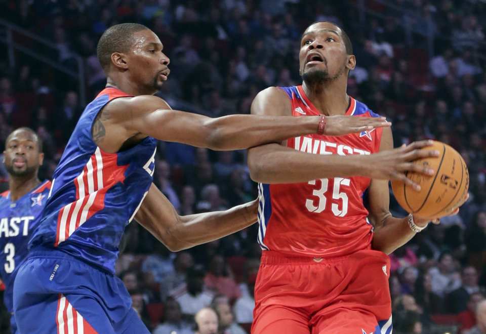 East Team's Chris Bosh of the Miami Heat guards West Team's Kevin Durant of the Oklahoma City Thunder during the first half of the NBA All-Star basketball game Sunday, Feb. 17, 2013, in Houston. (AP Photo/Eric Gay) ORG XMIT: HTR133
