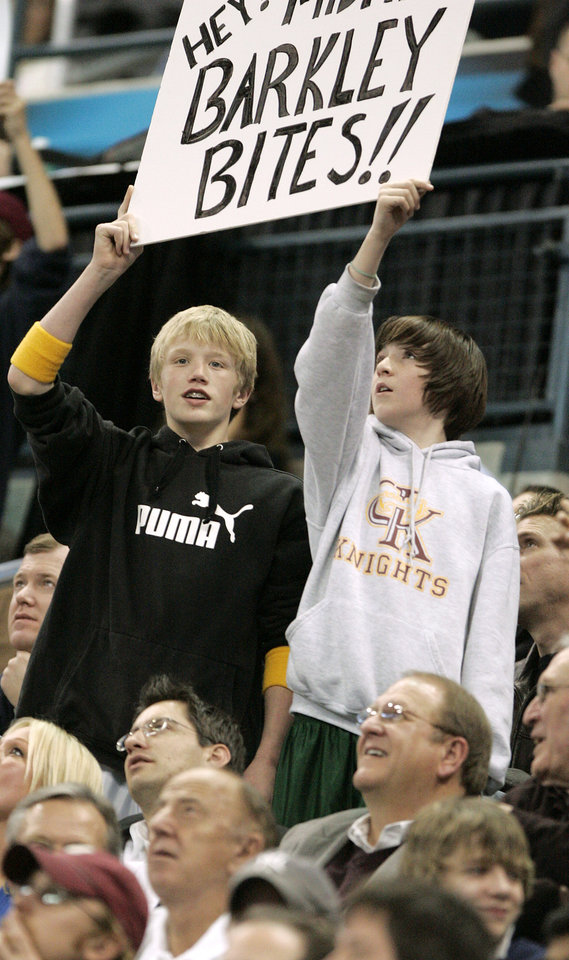 FAN: Fans hold a sign in reaction to Charles Barkley's comments from the previous night during the New Orleans/Oklahoma City Hornets NBA basketball game against the New York Knicks at the Ford Center in Oklahoma City, Feb. 10, 2006.  By Bryan Terry/The Okahoman