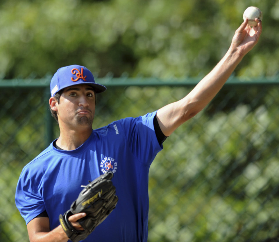Photo - In this Thursday, July 31, 2014 photo, Hyannis pitcher Ryan Perez, of Hampshire, Ill., pitches with his left hand during warm-ups before a Cape Cod Baseball League game in Cotuit, Mass. The 20-year-old ambidextrous pitcher from tiny Judson University has blossomed into a potential high-round pick for the 2015 draft with his performances this summer in the prestigious Cape Cod League. (AP Photo/Cape Cod Times, Ron Schloerb) MANDATORY CREDIT: CAPE COD TIMES/RON SCHLOERB
