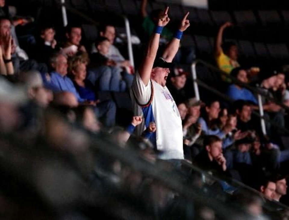 Jeremy Miller, of Oklahoma  City, cheers for the Oklahoma  City Thunder from  Loud  City during their NBA basketball game against Golden State at the Ford Center in Oklahoma  City on Sunday, Jan. 31, 2010. Photo by John Clanton