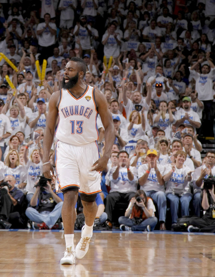 Oklahoma City's James Harden reacts during Game 2. Harden scored 21 points in the Thunder's loss. Photo by Sarah Phipps, The Oklahoman