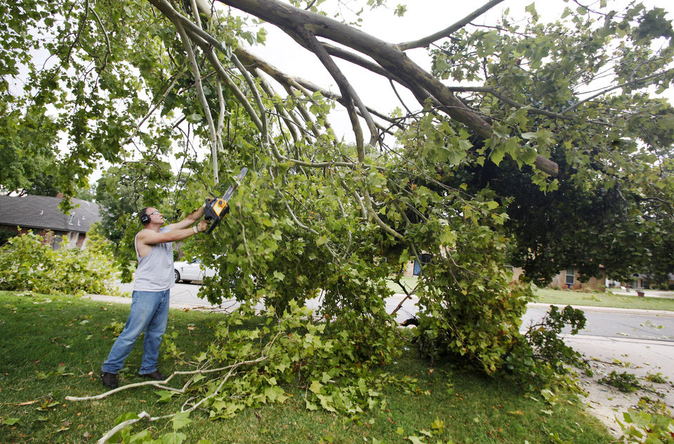Photo - Allen Bard cuts downed limbs from a sycamore tree that fell onto his yard and the 1900 block of Washington Street after a thunderstorm moved through in Edmond Wednesday, Aug. 10, 2011.  Photo by Paul B. Southerland, The Oklahoman