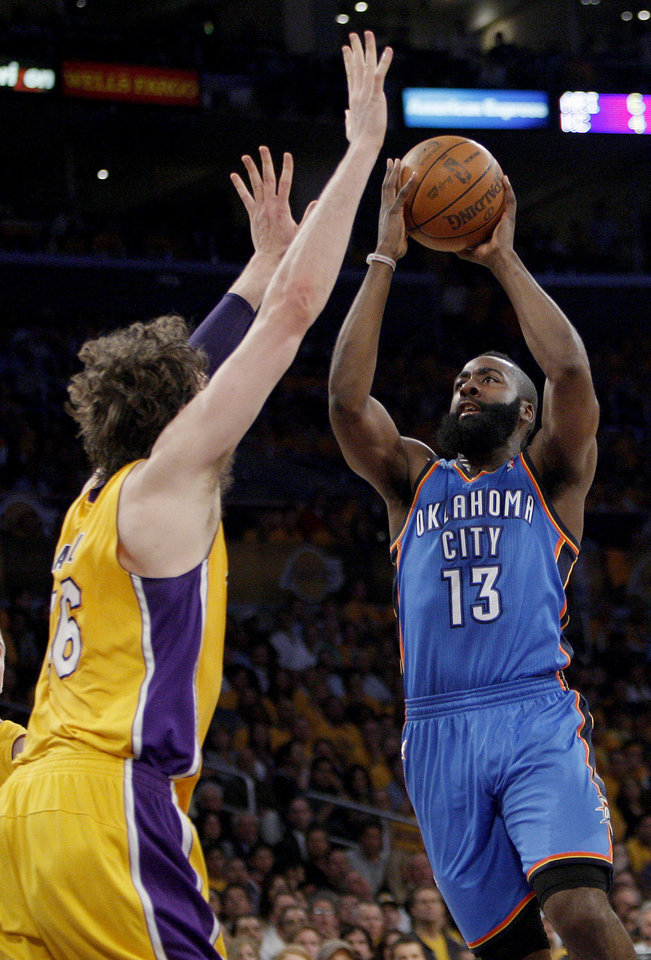 Oklahoma City's James Harden (13) shoots over Los Angeles' Pau Gasol (16) during Game 3 in the second round of the NBA basketball playoffs between the L.A. Lakers and the Oklahoma City Thunder at the Staples Center in Los Angeles, Friday, May 18, 2012. Photo by Nate Billings, The Oklahoman