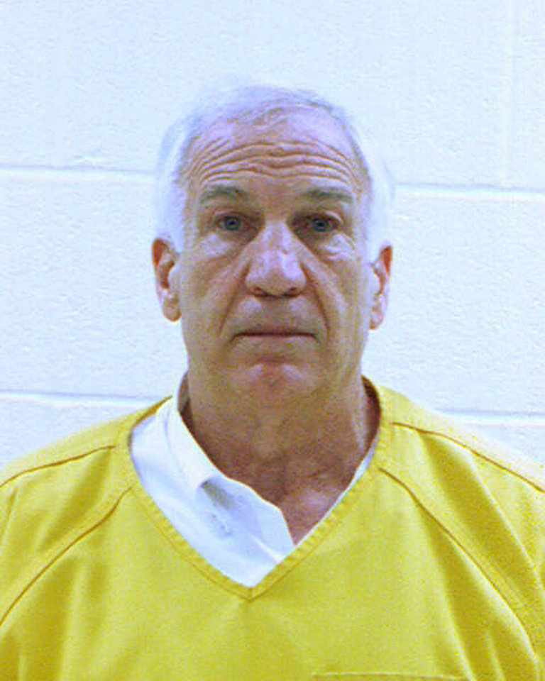 Photo -   In this booking photo released early Saturday morning June 23, 2012 by the Centre County Correctional Facility in Bellefonte, Pa., former Penn State University assistant football coach Jerry Sandusky is shown. Sandusky was convicted on Friday, June 22, 2012, of sexually assaulting 10 boys over 15 years Friday, accusations that had sent shock waves through the college campus known as Happy Valley and led to the firing of Penn State's beloved Hall of Fame coach, Joe Paterno.. (AP Photo/Centre County Correctional Facility)