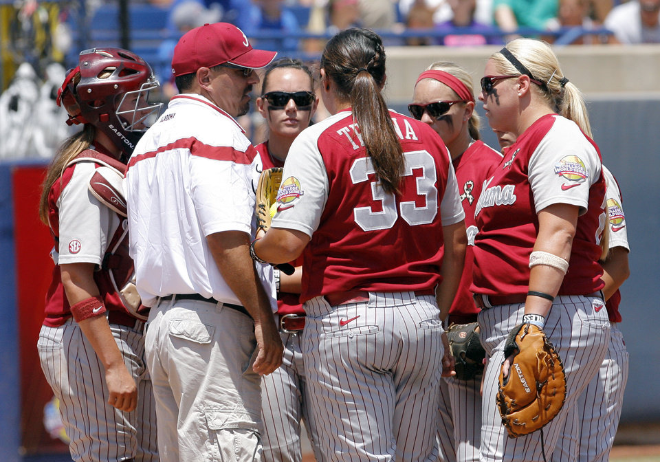 Photo - Alabama head coach Patrick Murphy during the Women's College World Series game between Florida and Alabama at the ASA Hall of Fame Stadium in Oklahoma City, Sunday, June 5, 2011. Photo by Garett Fisbeck, The Oklahoman