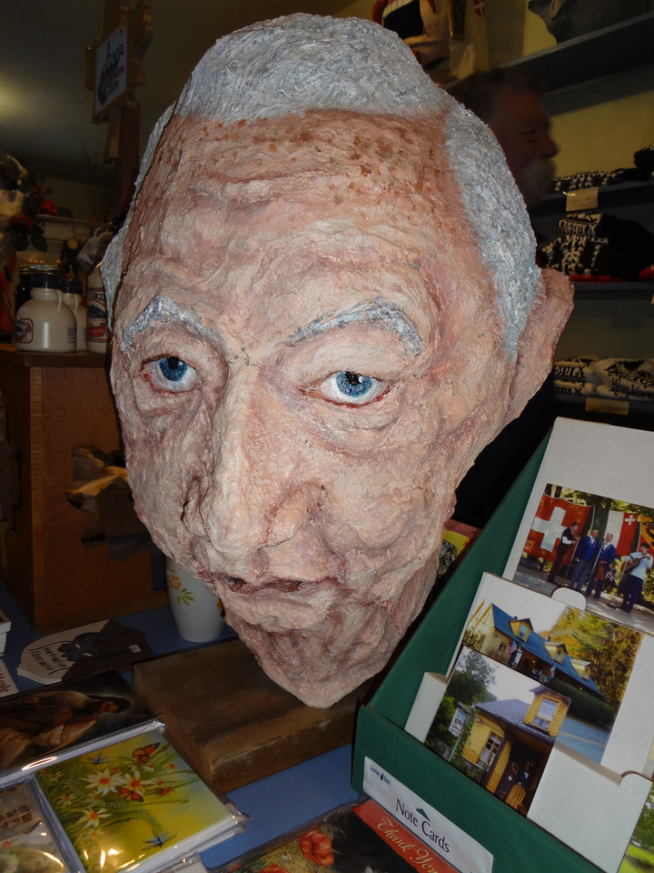 A homemade mask of West Virginia\'s late U.S. senator, Robert C. Byrd, sits in the store and mask museum in Helvetia, W.Va., on Saturday, Feb. 9, 2013, where revelers were celebrating the annual Fasnacht festival. (AP Photo/Vicki Smith)