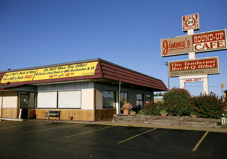 Photo - BUILDING EXTERIOR: Jimmy's Round-Up Cafe near SW 59th and Blackwelder in Oklahoma City on Sept. 15, 2008. By John Clanton, The Oklahoman  ORG XMIT: KOD