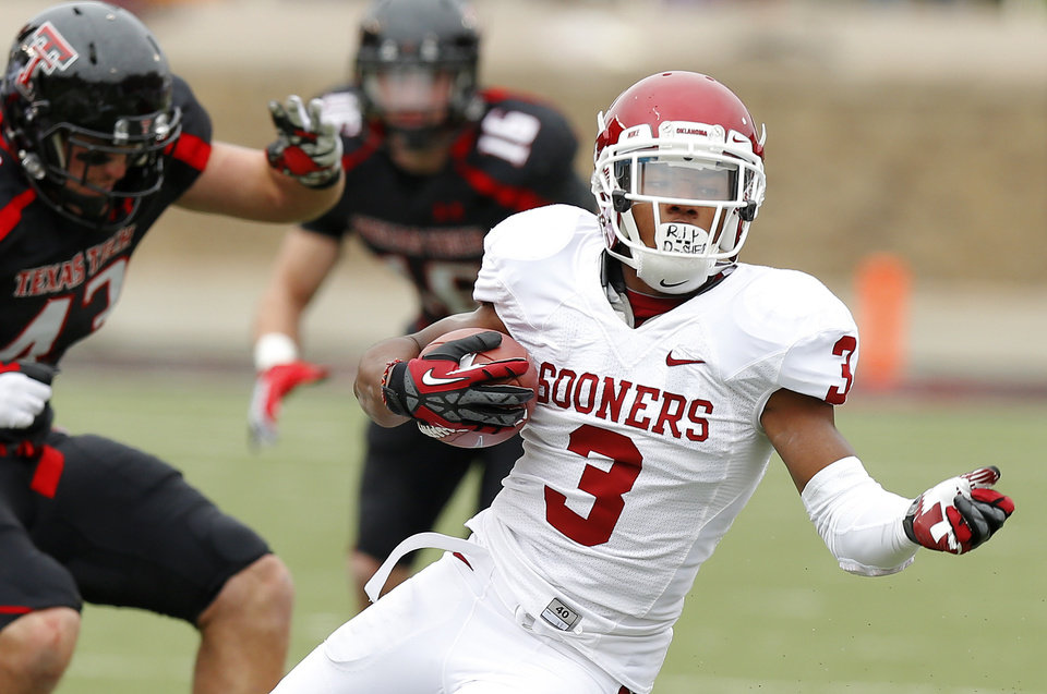 Oklahoma\'s Sterling Shepard (3) runs after a reception during a college football game between the University of Oklahoma (OU) and Texas Tech University at Jones AT&T Stadium in Lubbock, Texas, Saturday, Oct. 6, 2012. Oklahoma won 41-20. Photo by Bryan Terry, The Oklahoman