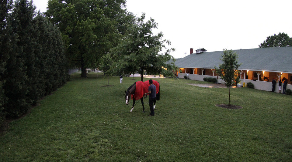 Photo - Kentucky Derby entrant Union Rags grazes outside the stables before the 138th Kentucky Derby horse race at Churchill Downs Saturday, May 5, 2012, in Louisville, Ky. (AP Photo/Garry Jones)  ORG XMIT: DBY102