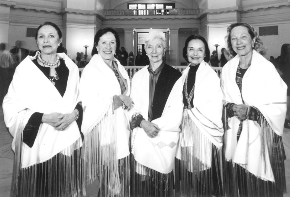 Photo - Indian ballerinas, from left, Maria Tallchief, Marjorie Tallchief, Rosella Hightower, Moscelyne Larkin and Yvonne Chouteau were shown at state Capitol.  Photos provided