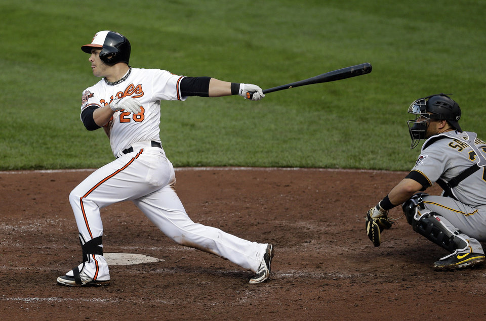 Photo - Baltimore Orioles' Steve Pearce, left, drives in teammate Steve Clevenger on an RBI-single in the sixth inning of the first baseball game of a doubleheader against the Pittsburgh Pirates, Thursday, May 1, 2014, in Baltimore. (AP Photo/Patrick Semansky)