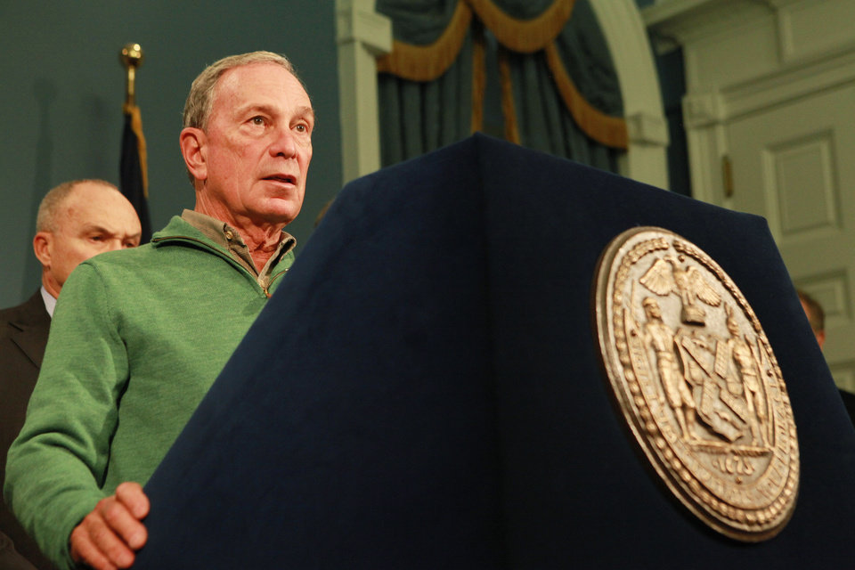 Photo -   In this photo provided by New York City Mayor's Office, New York City Mayor Michael Bloomberg updates the media on the City's Superstorm Sandy recovery efforts, Friday, Nov. 2, 2012 in New York. Later that day Bloomberg Bloomberg cancelled the 2012 New York Marathon amid growing public pressure. (AP Photo/NYC Mayor's Office, Kristin Artz)