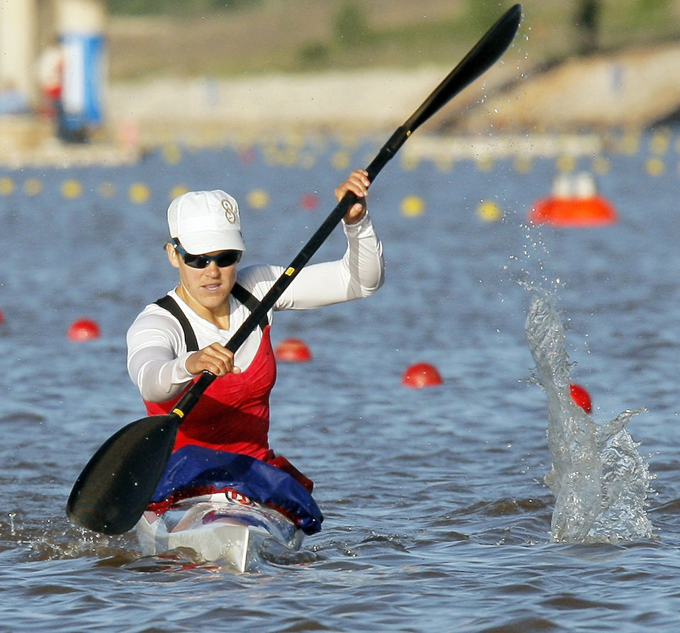 Carrie Johnson competes in the women�s kayak 500-meter final during the USA Canoe/Kayak U.S. Olympic Team Trials on the Oklahoma River in Oklahoma City. Photos by Nate Billings, The Oklahoman archives