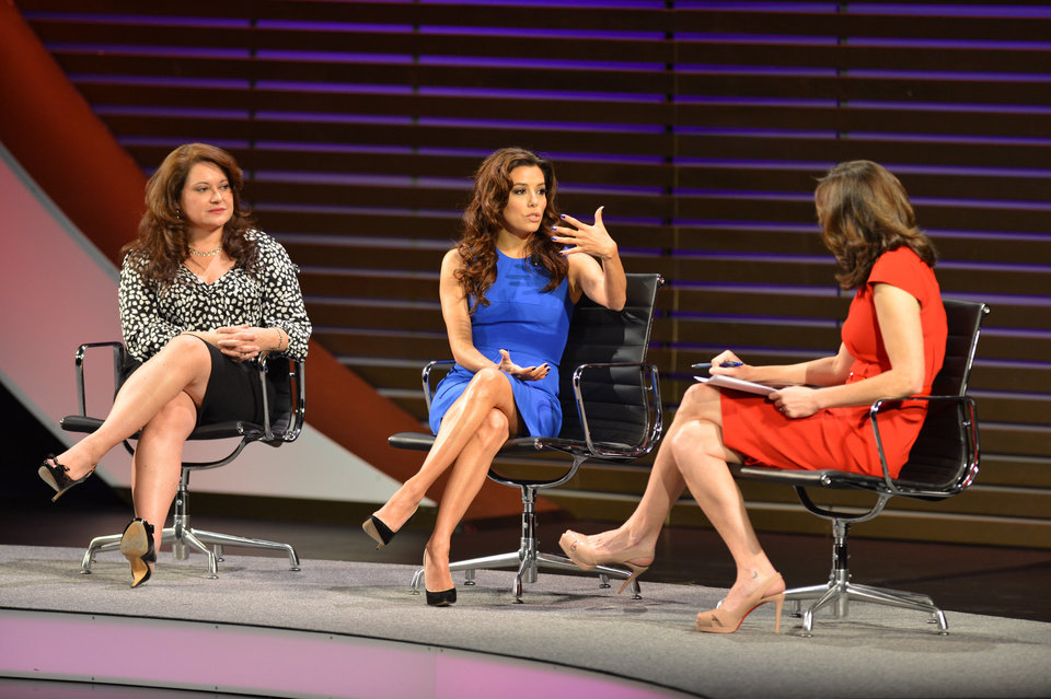 Photo - This image released by the Women in the World Conference shows Lorena Chambers, CEO, Chambers Lopez Strategies LLC, left,  actress, activist and philanthropist Eva Longoria, center, and moderator Campbell Brown during a panel discussion at the Women in the World Conference  on Friday, April 5, 2013 in New York.  (AP Photo/Women in the World, Marc Bryan-Brown)